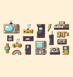 set vintage objects vector image