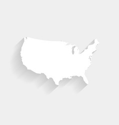 Simple white united states map on gray background vector