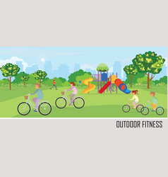 Sport outdoors activity with playground in the vector
