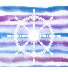 steering wheel on blurred watercolor stripes vector image vector image