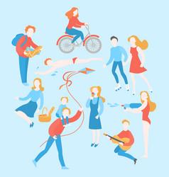 summer activity cartoon people in park vector image