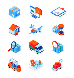 transportation and logistics - modern isometric vector image