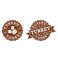turkey stamp seals with grunge texture in coffee vector image