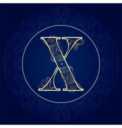 Vintage floral alphabet letter X vector image