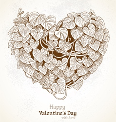 Vintage Valentine card with heart from leaves vector