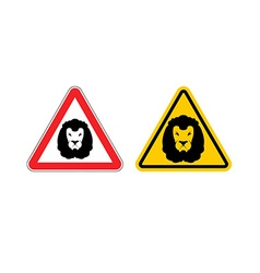 Warning sign lion attention Dangers yellow sign vector