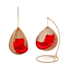 wicker hanging chairs set vector image
