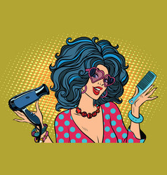 Beautiful young woman with barber tools vector