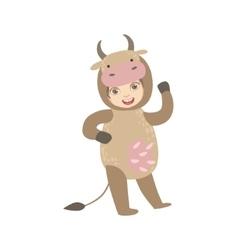 Boy Wearing Cow Animal Costume vector image vector image