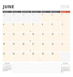 calendar planner for june 2018 design template vector image vector image