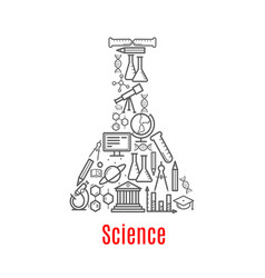chemical flask with science education icon vector image vector image