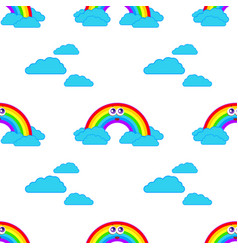 color seamless pattern of smiling cute rainbows vector image