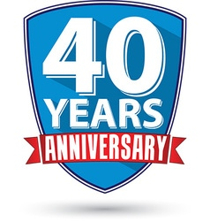 Flat design 40 years anniversary label with red vector image