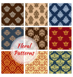 floral seamless pattern ornaments set vector image vector image