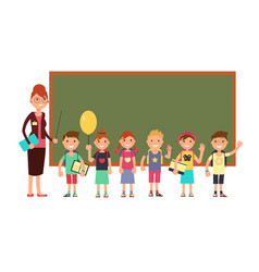 happy teacher with kids in school teaching vector image