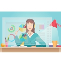 Young beautiful woman sitting opposite futuristic vector image vector image