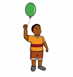 black boy green balloon vector image vector image