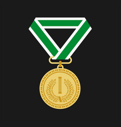 golden medal for first place icon flat design on vector image vector image