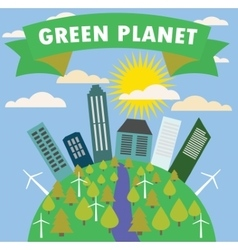 Green planet with the city trees vector image