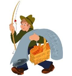 Happy cartoon man walking with fishing rod vector image vector image