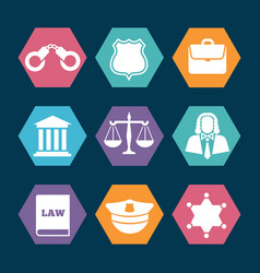 law justice and police icons set vector image vector image