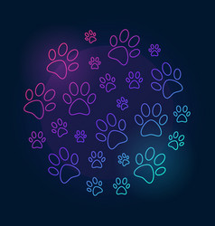 paw prints round bright outline vector image vector image