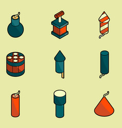 pyrotechnics color outline isometric icons vector image