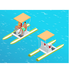 relax on the paddle boat couple on pedalo also vector image