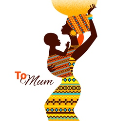 Beautiful silhouette of african mother and baby vector image vector image