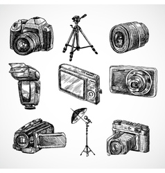 Camera sketch icons set vector image vector image