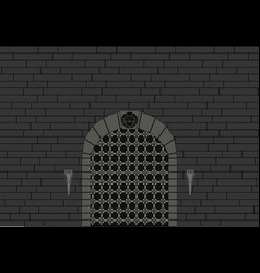 castle gate with old vintage vector image