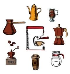 Coffee icons around the coffee machine vector image