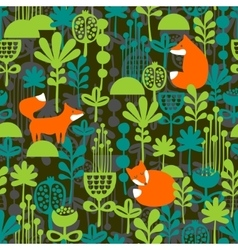 Fox in night forest seamless pattern vector image vector image