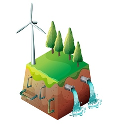 A windmill and water pipes vector image vector image