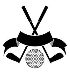 black crossed golf ball logo vector image vector image