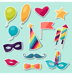 Celebration carnival set of sticker icons and vector image vector image