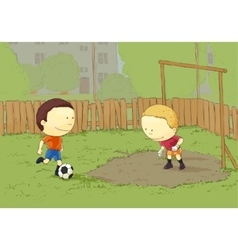 Children playing football vector image vector image