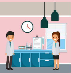 doctors man and woman hospital ward furniture and vector image