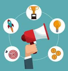 hand hold speaker digital marketing items vector image