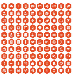 100 kitchen utensils icons hexagon orange vector