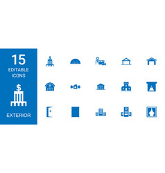 15 exterior icons vector image