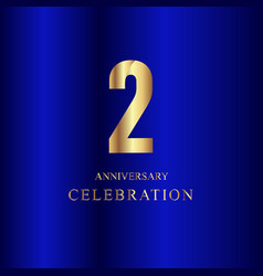 2 year anniversary celebration gold blue template vector