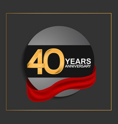 40 years anniversary logotype with golden color vector