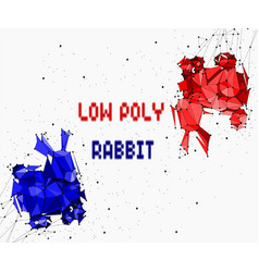 abstract of low poly red and blue rabbit with poin vector image