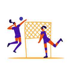 Abstract volleyball players two girls playing vector