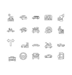 auto rental line icons signs set outline vector image