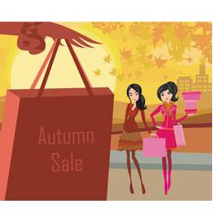 autumn shopping card vector image