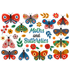 basic rgbset isolated moths and butterflies vector image