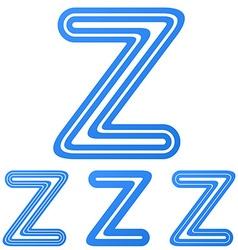 Blue z letter logo design set vector image