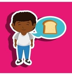 Boy cartoon bread slice vector